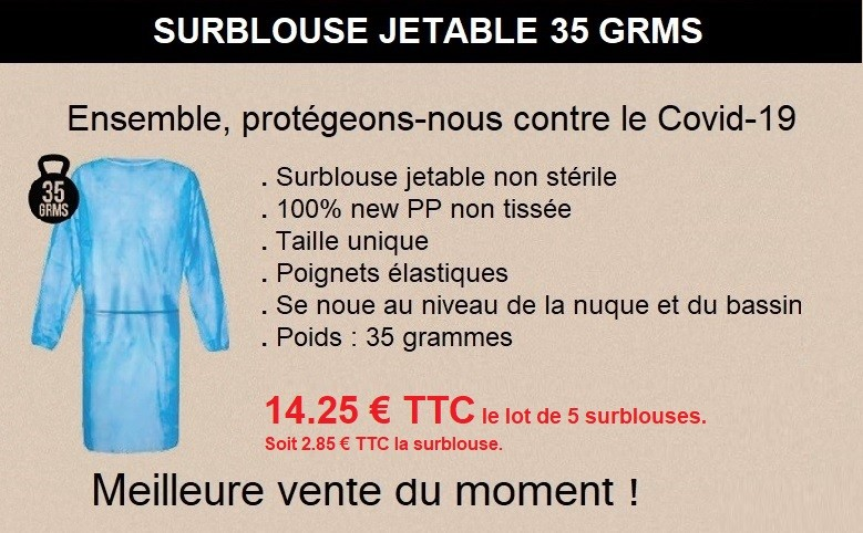 Lot de 5 surblouses non médicales à usage unique
