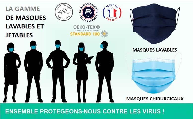 Masques lavables et jetables