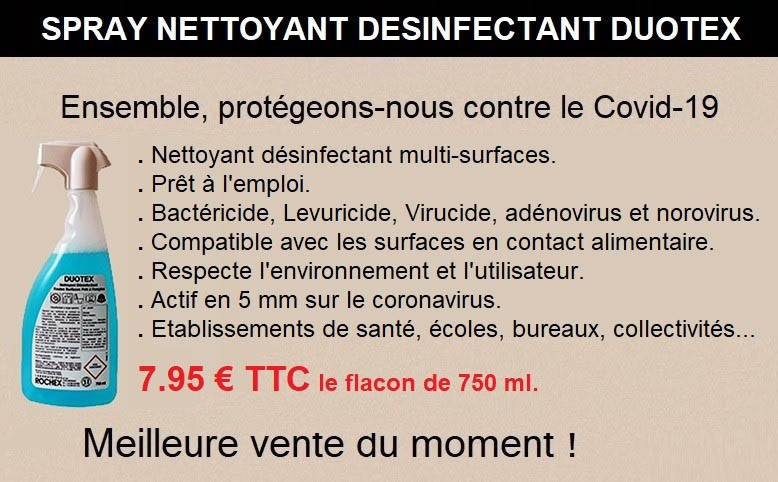 Spray désinfectant nettoyant DUOTEX - 750 ml