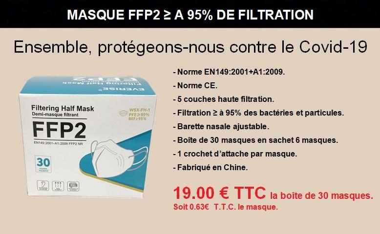 Masques FFP2 conforme à la norme EN 149:2001 + A1:2009 - Filtration ≥ à 95% des bactéries et particules.