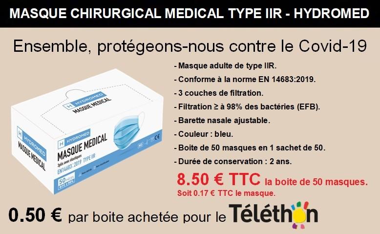 Masque chirurgical médical 3 plis type 2 R adulte en 1 sachet de 50 masques